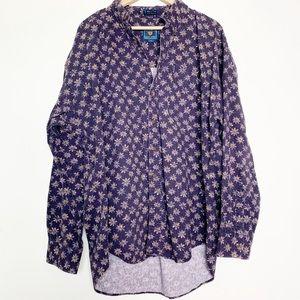 Vintage Chaps Ralph Lauren Blue Denim Print Shirt